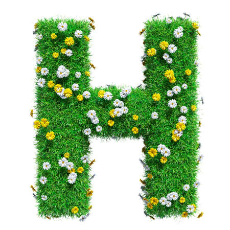 Letter H Of Green Grass And Flowers