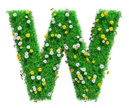 Letter W Of Green Grass And Flowers