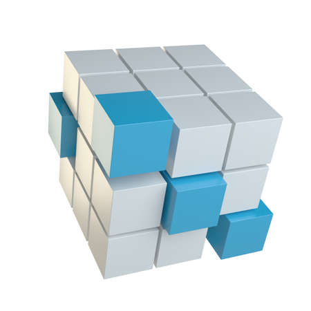 Abstract cube assembling from blocks Stock Photo