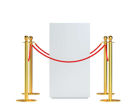 art museum: Mock-up empty white museum podium Stock Photo