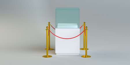 barrier: Glass exhibition with rope barrier