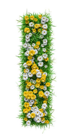 Letter I Of Green Grass And Flowers Stock Photo