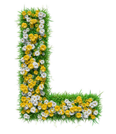 Letter L Of Green Grass And Flowers Stock Photo