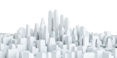 urbanization: White city downtown