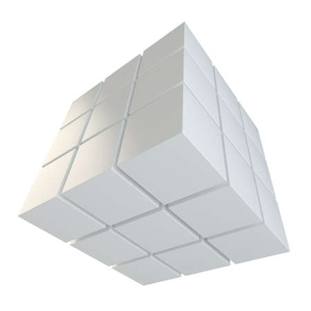 assembling: Abstract cube assembling from blocks Stock Photo