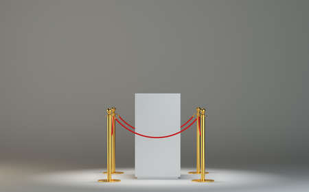 art museum: Empty white museum podium with barrier tape Stock Photo