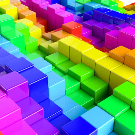 stochastic: Abstract background of multi-colored cubes