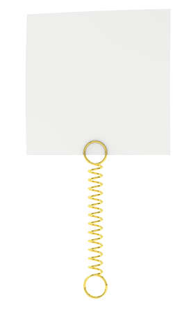 White paper note pad attached with metal spring