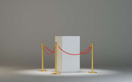 velvet rope barrier: Glass showcase for exhibit with fence and rope