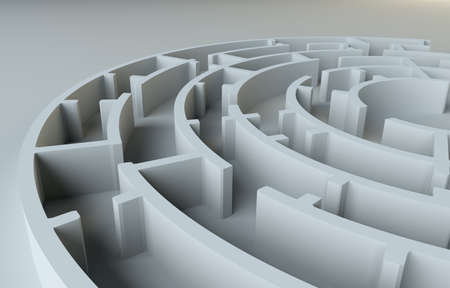 lost in space: Maze close-up. 3D Illustration