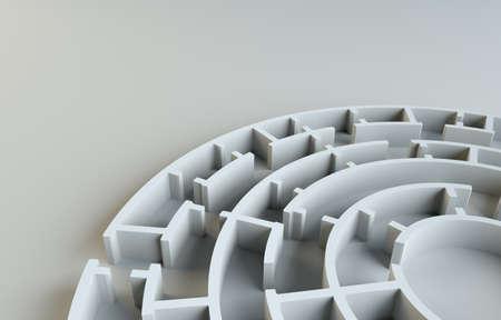 desig: Maze close-up. Gray studio background. Beautiful photo realistic shadows. Background for your desig. 3D Illustration Stock Photo
