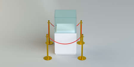 Empty glass showcase for exhibit with rope barrier. 3D Illustration
