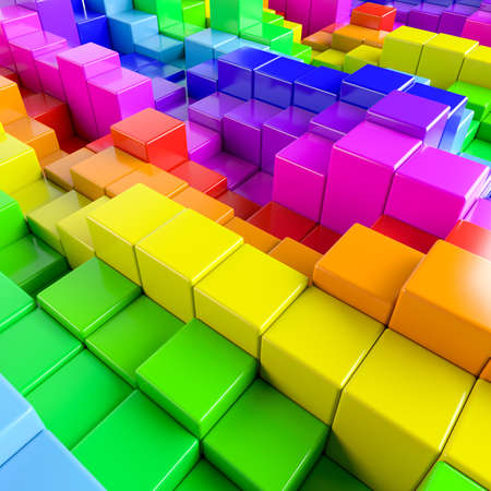 stochastic: Abstract background of multi-colored cubes. 3D Illustration