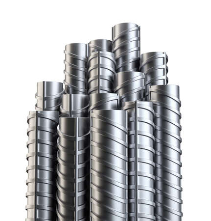 reinforcing: Steel reinforcements. Isolated on white Stock Photo
