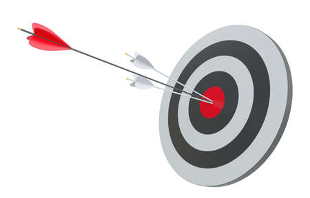 Target and arrows, isolated on white Stock Photo