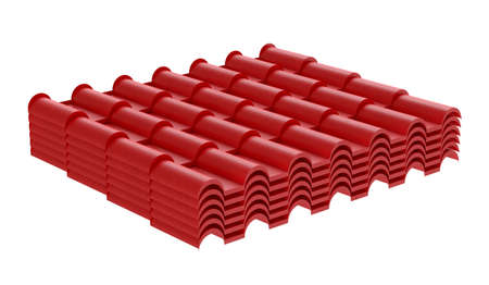 Red corrugated tile element of roof. Isolated