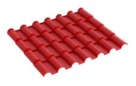 Metal red tile for roof, isolated