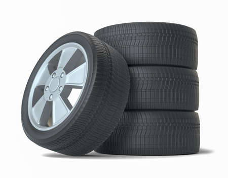 High Quality Car Wheels, Isolated Imagens