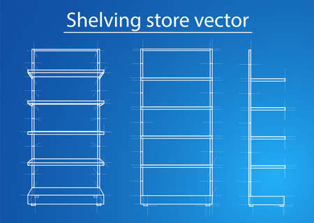 Wireframe Retail Shelves. Front View. For Your Design. Product Packing. 3D Rendering Vector