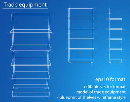 Wireframe Retail Shelves. Vector