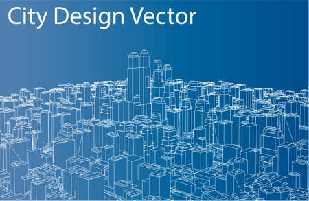 Wire-frame City, Blueprint Style. Vector Illustration