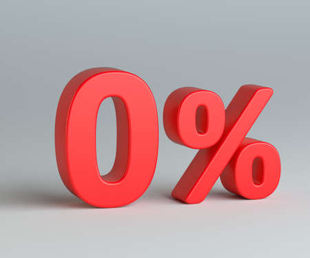 Red zero with percentage sign on gray background Stock Photo