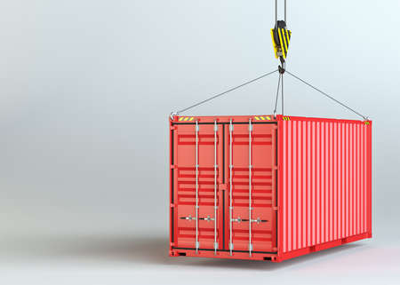 Crane hook and red cargo container Stock Photo
