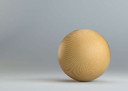 hard crust: Wooden sphere on gray background Stock Photo