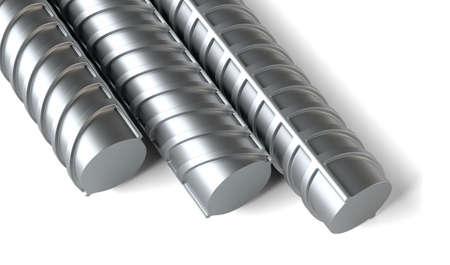 karkas: Close-up, stalen versterkingen. Bouw industrie concept. 3D illustratie. Geïsoleerd op wit Stockfoto