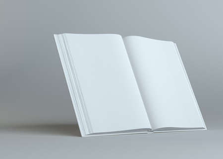 literature: White empty open book on gray background. Template for your content. 3d illustration