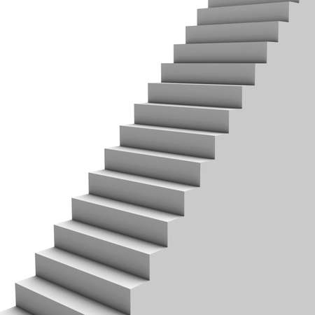 flooring: Contrasting gray staircase leading up Stock Photo
