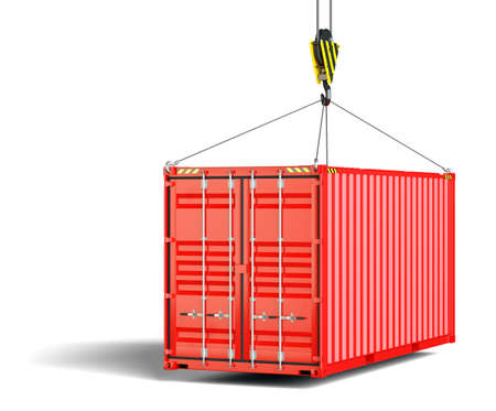 A shipping container hangs on the lifting hook