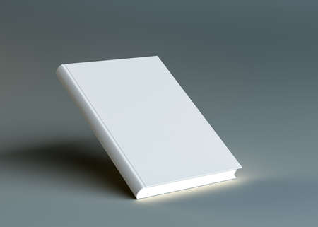 page layout: A closed white empty book stands on the corner Stock Photo