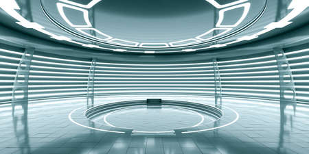 Abstrakte leere glühende futuristische Raumstation