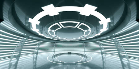 Abstract empty glowing futuristic space station Stock Photo