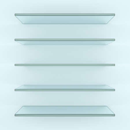 Five alike glass shelves on white wall. 3d illustration. Template for your design Stock Photo