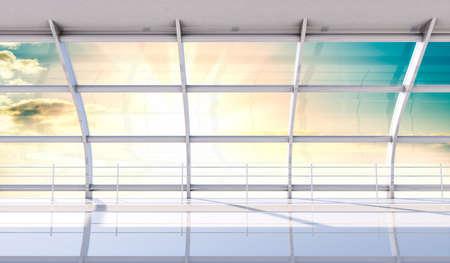flooring: Minimalist interior of the airport