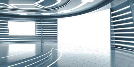 futuristic interior: Abstract futuristic interior with glowing panels
