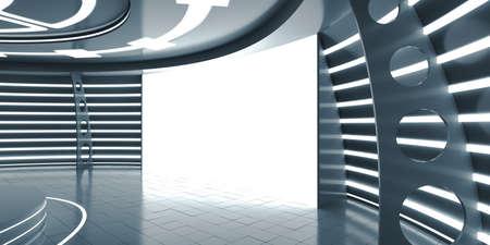 futuristic interior: Abstract futuristic interior with glowing panel