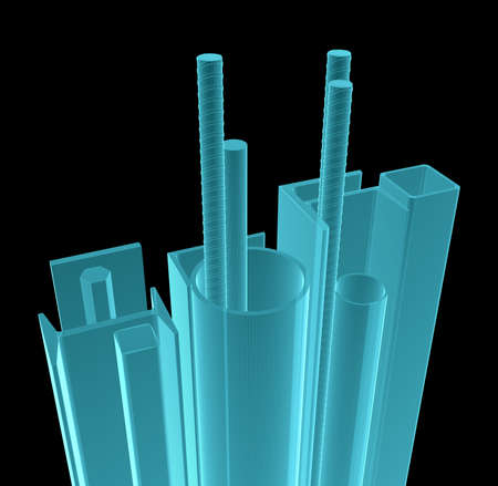 X-Ray Image Of Metal Products. Isolated on Black. 3D Illustration