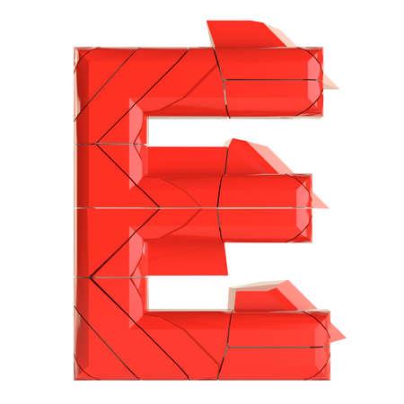 Futuristic red cracked letter. 3D illustration Zdjęcie Seryjne