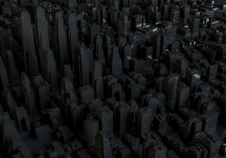 Abstract black city. Aerial view. 3d illustration Stock Illustration - 82083673