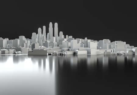 White abstract city from cubes on mirror floor. 3d illustration