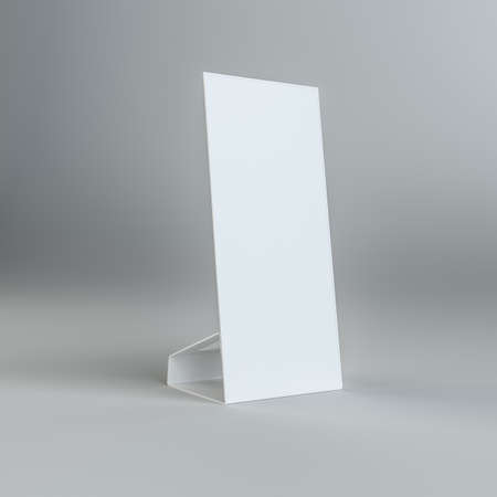 placecard: Blank paper table card on on grey background