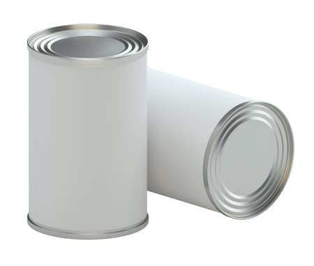 tinned: Metal tin can with white paper label