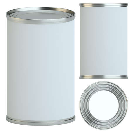 hermetic: Metal tin can with white empty label