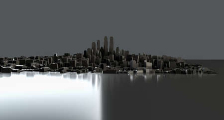Black city on mirror floor
