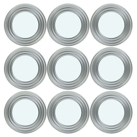 tinned: Group of metal tin cans with white paper labels