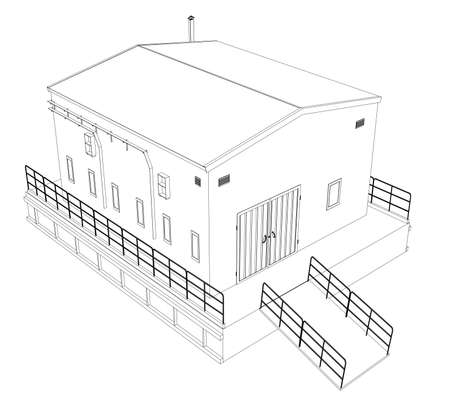 empty warehouse: Wire-frame industrial building Illustration