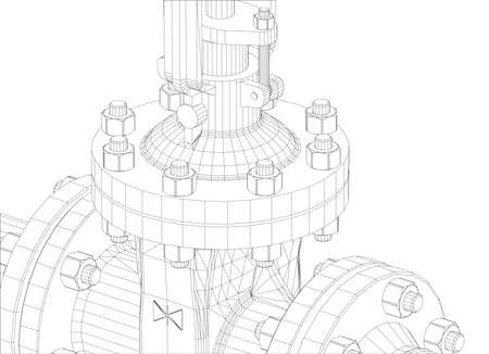 Industrial valve. Detailed vector illustration on white background. Vector rendering of 3d. Wire-frame style Çizim